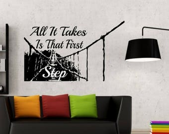 All it takes is that first step - rope bridge to nowhere silhouette wall vinyl or sticker