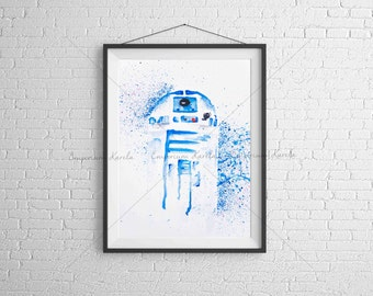 R2-D2 - STAR WARS - Watercolor - PRINTABLE - Handmade