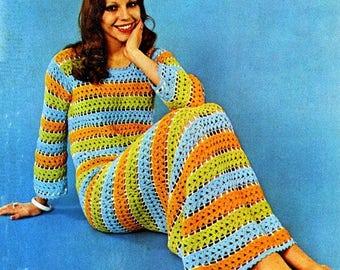 Long beach multicolored dress Bohol hippie style crochet / custom