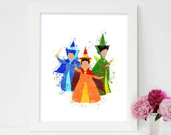Flore, Fauna and Merryweather, Fairy Godmother print Aurora Disney Print Sleeping Beauty print Aurora Disney Princess, Princess artwork