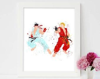 Street Fighter, Ryu vs Ken- Watercolor, Art Print, Home Wall decor, Watercolor Print, Street Fighter Poste