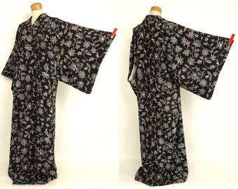 Japanese M51003 Kyo-Yuzen Black Komon Kimono Vintage