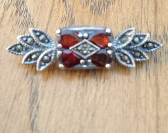 Red Garnet and Marcasite Brooch