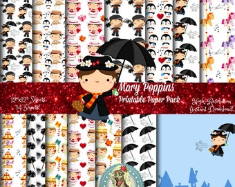 Mary Poppins Digital Paper Pack, Mary Poppins Umbrella, Mary Poppins Hat, Mary Poppins Party, Mary Poppins Clipart, Scrapbook Paper