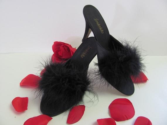Frederick 39 s bedroom shoes black boudoir slippers with - Ladies bedroom slippers with heel ...