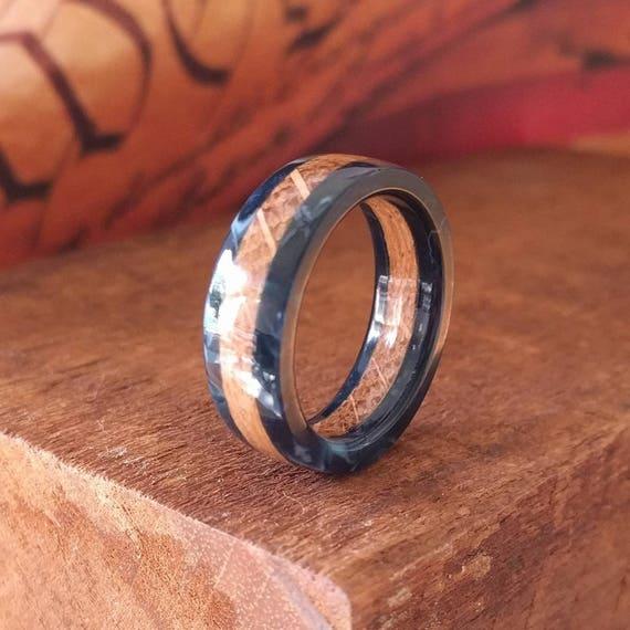 Blue Wooden Ring - Whiskey Barrel Ring - Men's Wooden Rings - Wooden Wedding Ring -  Wooden Promise Ring  - Woman's  wood rings