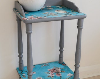 Shabby Chic Bedside Side Table Unit Storage Wooden Pink Turquoise Blue Tit Bird Free Local Delivery