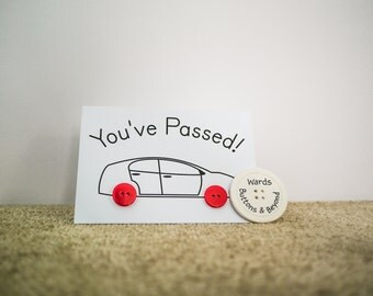 Driving Test Pass Button People Car Greetings Card
