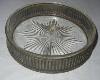 Vintage Ashtray Mid-Century Silver Plated Cut glass ashtray 1940's-1950's