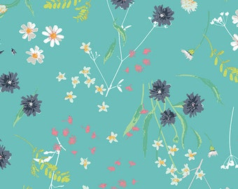 KNIT Fabric,Blossom Swale Calm in Knit, Art Gallery Knits, Cotton Spandex Knit, Jersey Knit Fabric, Floral Knit Fabric, Aqua Floral, k-26803