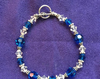 Cobalt blue ans White Swaravski and Silver finding bracelet