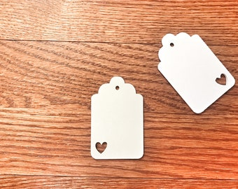 Heart Wedding Tags Set of 20 - White Heart Wedding Favor Tags- Heart Party Tags - Bridal Shower - White Party Shower - Thank You Tags- Heart