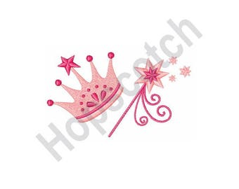 Princess Crown And Wand - Machine Embroidery Design