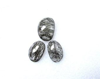 3 pieces pair BLACK Rutilated Rosecut Uneven Cabochon rosecut (20x13.5mm -1 pcs Or 17x11mm -2 pcs) Black Rutile Faceted Irregular Rosecut