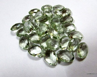 14x10mm Mint Green AMETHYST Oval Briolette Faceted Gemstone