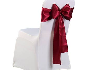 """7""""X108"""" Burgundy Satin Sashes Chair Cover Bow Sash WIDER FULLER BOWS Wedding Party"""