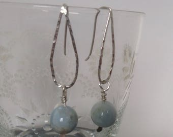 aquamarine and hammered silver teardrop dangle contemporary earrings
