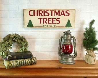 "Christmas trees for sale | Christmas sign | Christmas decor | rustic wood sign | Christmas mantel decor | 20"" x 7.25"""