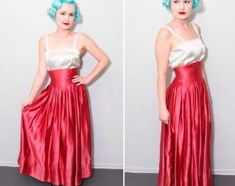 1940's Hot Pink Satin Floor Length High Waisted Skirt | Size XS