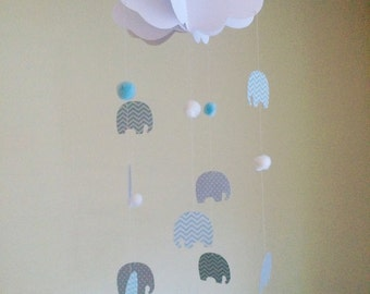 3D cloud and elephant card baby mobile