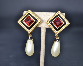 Swarovski Swan signed red ruby color crystal pearl drop dangle pierced earrings sophisticated high fashion/Offered by poshparagons for you