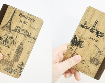 Wooden passport cover, Passport holder, Unique Valentines Gift, Fashionable Custom Wooden Passport cover - Wonders of The World/ PC019
