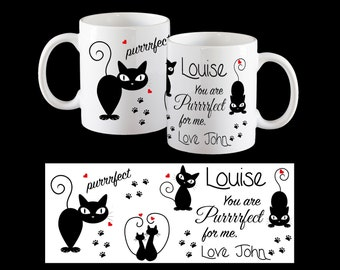 """Personalised Cat Valentine's Day coffee mug, Funny """"You are purrfect for me"""" cat mug"""