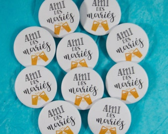 10 friend of the bride and groom wedding badges