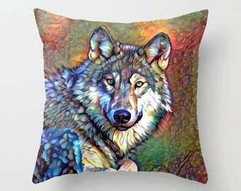 Wolf Pillow, Animal Pillow, Wildlife Pillow, Nature Pillow, Digital Art, Wild Pillow, Throw Pillow Cover, Painting Pillow, Digital Painting