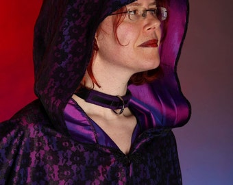 Taffetta and lace stunning cloak in purple or red. LARP Cosplay fantasy LOTR