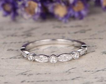 14K WHITE Gold Wedding Band,half Eternity Engagement Ring ,stacking mstcinging band,custom made fine jewelry,Milgrain Diamond Bridal band