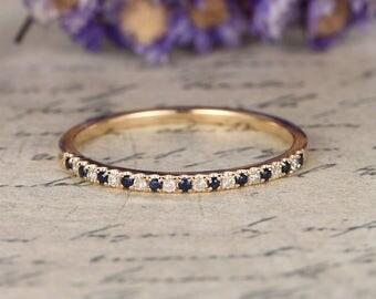 Blue sapphire Wedding Bands women diamond,Diamond Engagement Ring,14k yellow Gold stackable band,custom made fine jewelry,pave set