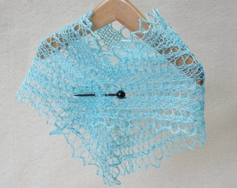 pale blue hand dyed hand knit lacy shawl for 18 inch (A G) doll
