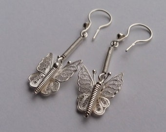 Butterfly Earrings Mariposa Filigrana, Sterling Silver Earrings, Filigree Earrings, Dangle Earrings, Butterfly Earrings, Handmade in Spain