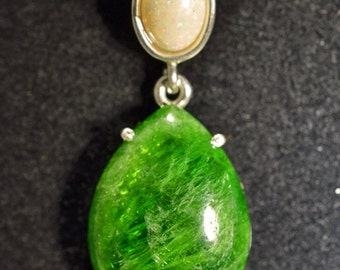 Silver Pendant with diopside and Opal