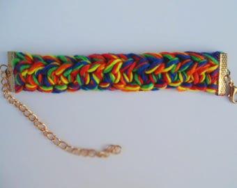 Hand crocheted Rainbow colored bracelet.