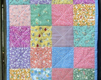 """Vintage squares doll quilt 17"""" x 20.5"""" in reproduction 1930's fabrics with a coordinated pillow.FREE SHIPPING!"""
