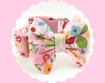Pink Multi Flowers & Bow Dog or Puppy Collar