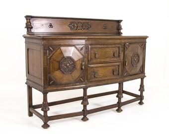 B596A Antique Scottish Oak Sideboard, Dresser, Buffet