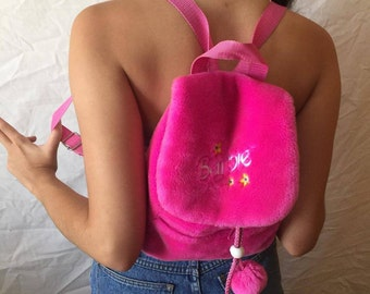 Deadstock Barbie Fluffly Pink Kawaii BackPack Rare Vintage 90s