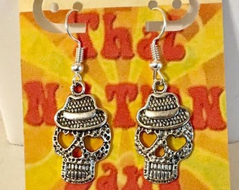 USA FREE Shipping!! That NATION Band  Day of the Dead Sugar Skull Earrings