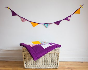 Purple and yellow bunting fabric banner, Fabric Banner, Fabric Flags, Nursery decor, Birthday Decoration, Baby shower gift, photo shoot prop