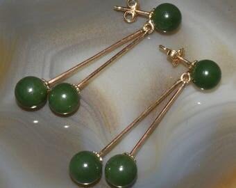 14K Gold and Jade Drop Pierced Earrings Estate Jewelry