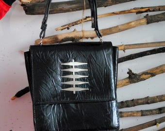 Vintage womens hand bag 1990s 1980s black colour