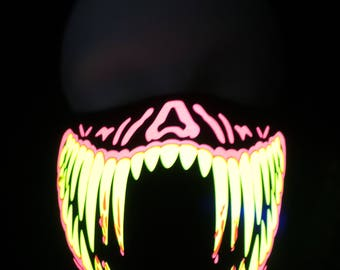 Red and Yellow Teeth Sound Activated LED Rave Mask for DJ, Edc, Ultra, Music Festival, Concerts, Club, EDM, Costume, Cosplay, Dance, Music
