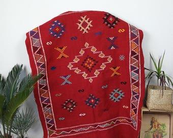 Red kilim carpet / Berber carpet / rug wool