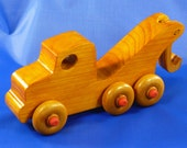 Handcrafted Wooden Pine Toy Tow Truck