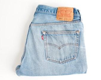 LEVIS 501 Denim Jeans Vintage Denim Blue Jeans Button Fly Vintage Levis Denim Light Blue Pants Large Size Plus Size Pants