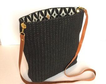 Handles black tweed fabric leather Sling bag