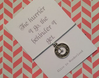 Alice in Wonderland White Rabbit inspired clock charm friendship / wish bracelet with backing card, hand made gift, choice of colours